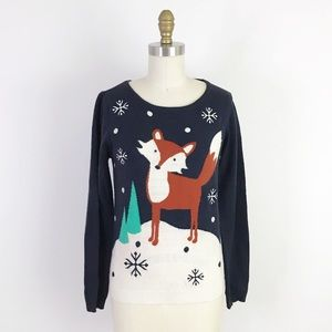 Modcloth Fox in Snow Holiday Sweater Woodland RARE
